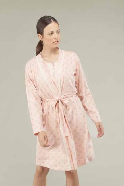 Cotton dressing gown with lace