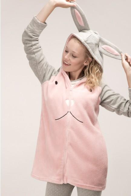 Fluffy rabbit dressing gown
