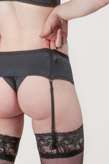 Thong boxer with removable garter straps