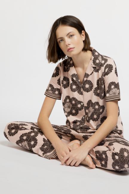 Pijama camisero largo floral