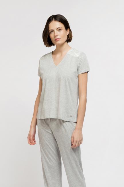 Camiseta corta algodón con encaje