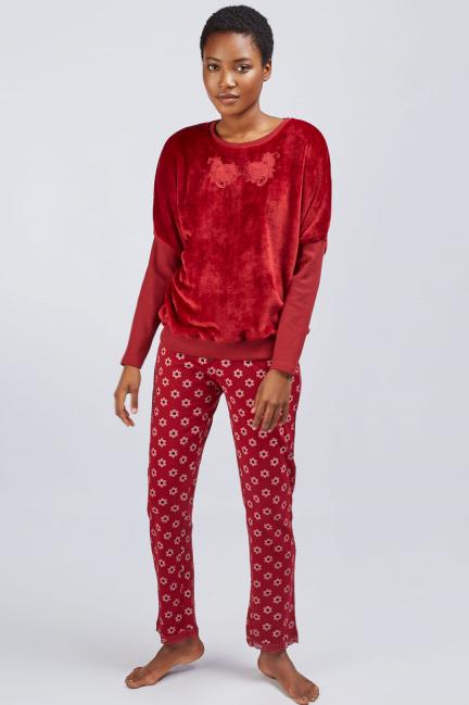 Pijama peluche mangas murciélago