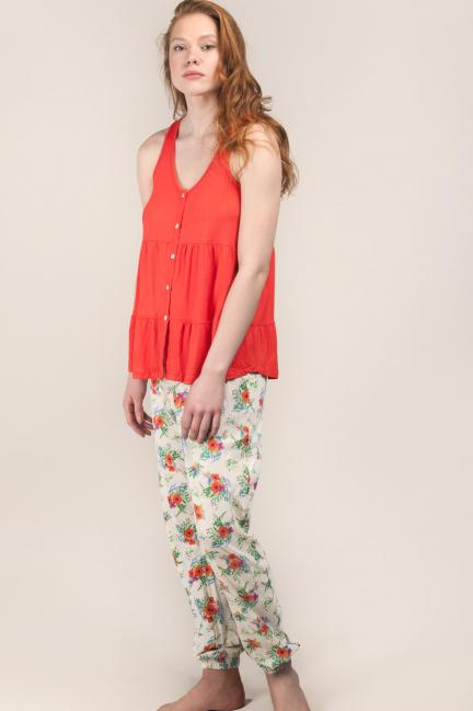 Pijama con camiseta de tirantes y pantalón estampado