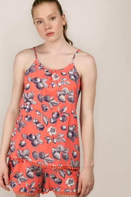 Pijama estampado con camiseta de tirantes y short
