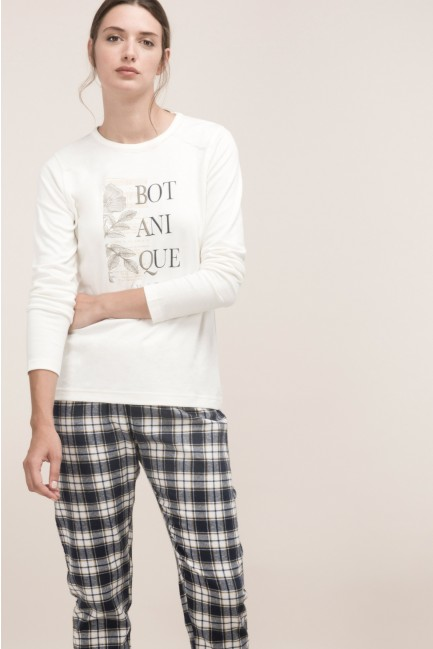 Pyjama set with printed bottoms