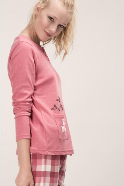 Pink Panther pyjama set with printed bottoms