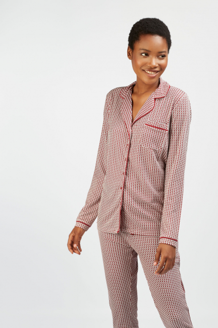 Pijama camisero estampado