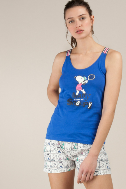 Snoopy pyjama set with printed bottoms