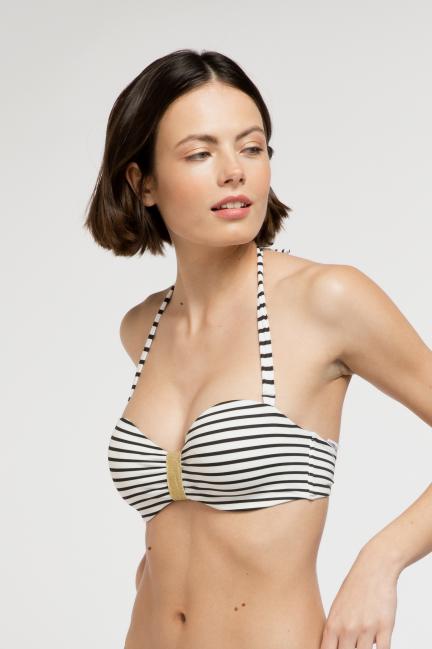 Bikini bandeau desmontable rayas