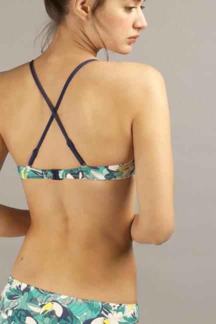 Top bikini estampado con tirantes regulables