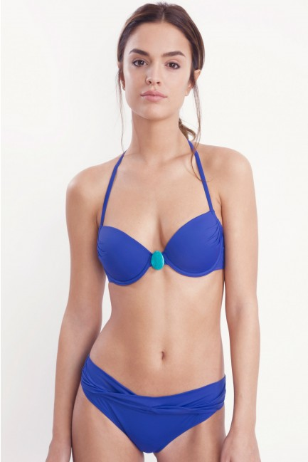Top bikini azul doble posición